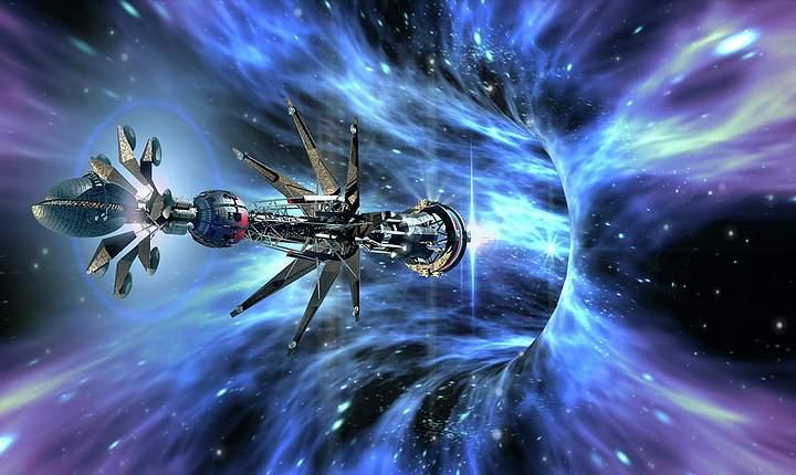 Artistic representation of a spaceship entering a wormhole. Credit: Daniela Mangiuca build a wormhole