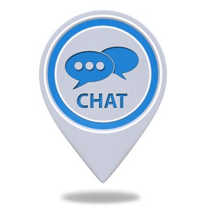 Chat pointer icon on white background