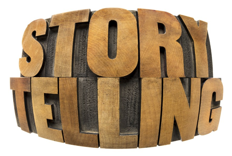 storytelling word in wood type