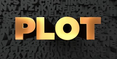 Plot - Gold text on black background - 3D rendered stock picture.