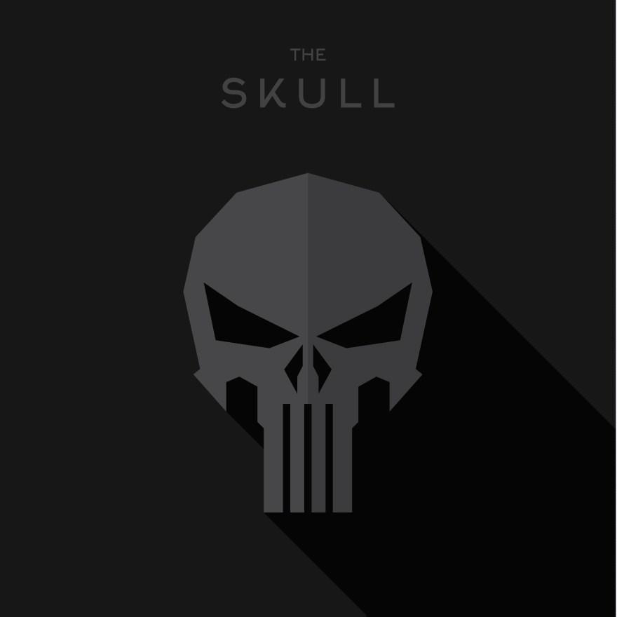 Mask villain Hero superhero skull flat style icon logo, illustration
