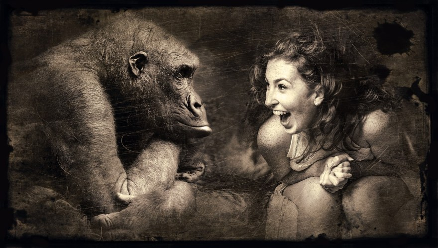 Laughing woman image with monkey