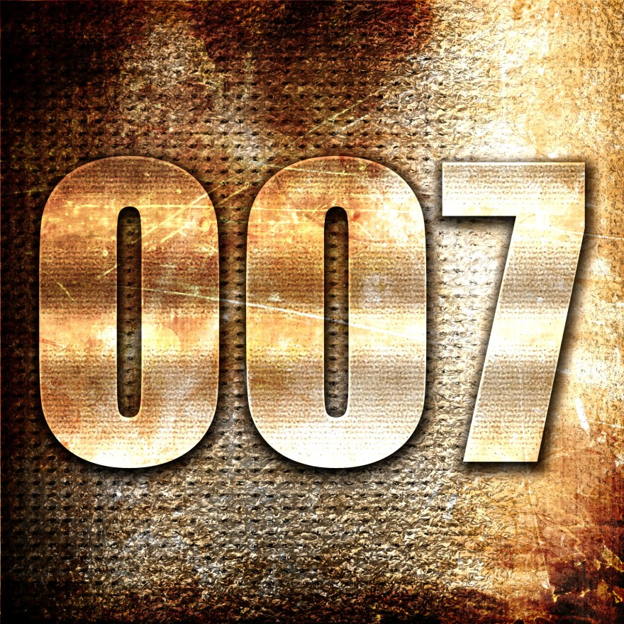 007, 3D rendering, metal text on rust background
