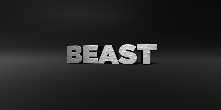 BEAST - metal finish text on black studio - 3D rendered stock photo