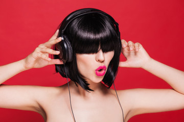 headphones woman listening image