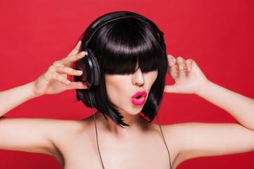 headphones woman listening image