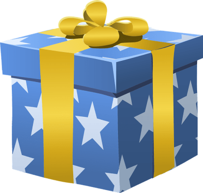 Bow yellow blue box image gift