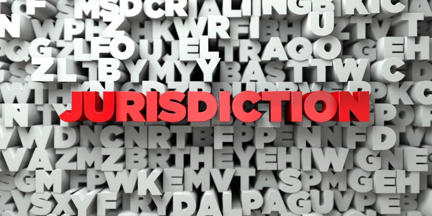 JURISDICTION -   3D stock image of Red text on white background