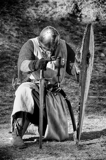 Knight Medieval kneeling image with sword