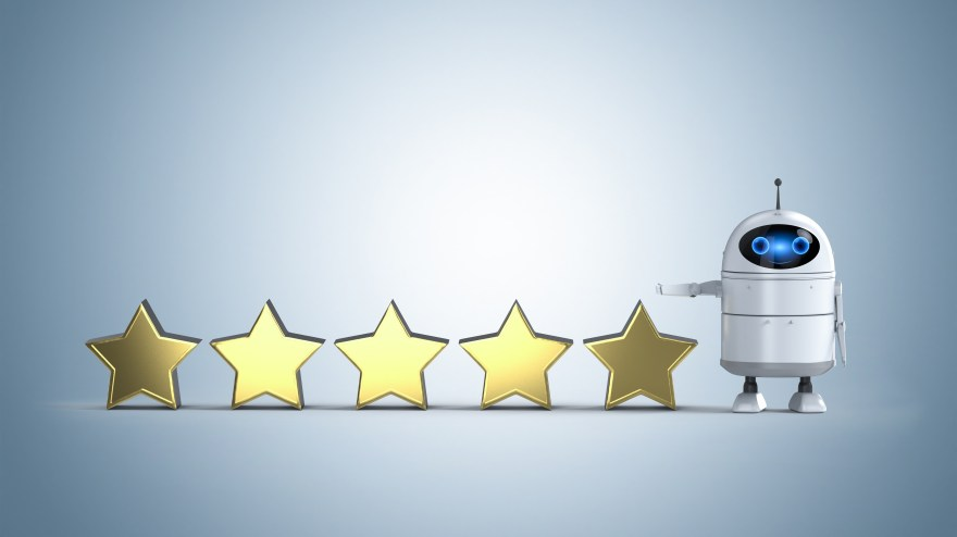 Android robot with five stars