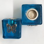 Butterfly Wish Candle Holder Blue