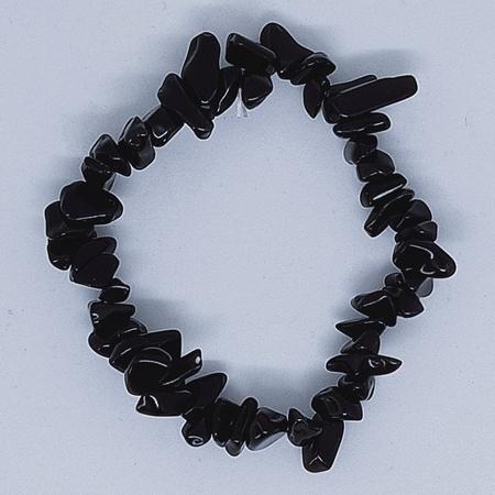 Crystal Chip Bracelet Black Obsidian