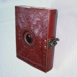Leather Bound Journal Patterned With Stone