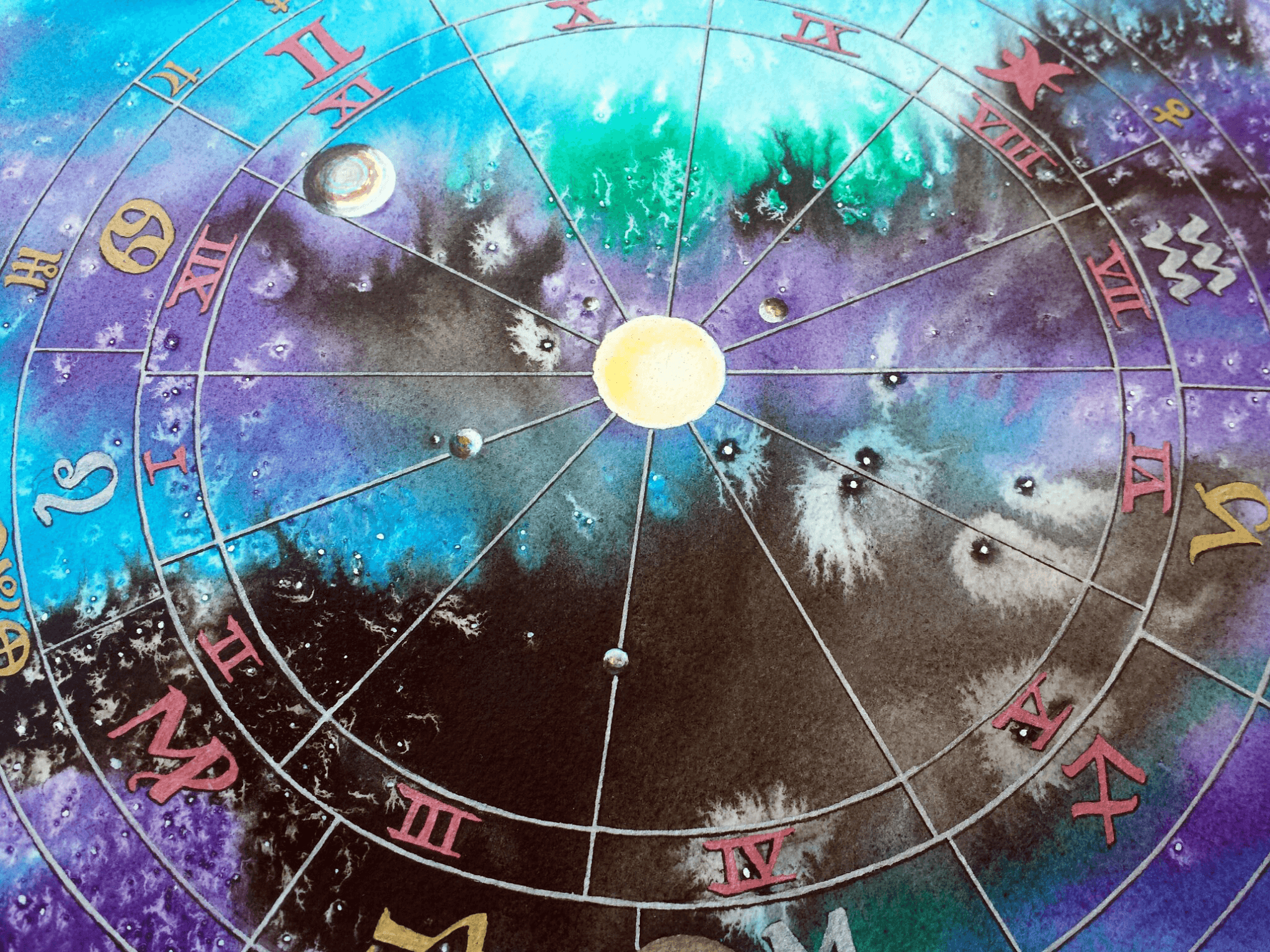 Hand Painted Aquarius Natal Chart | Mystick Physick