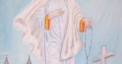 Beautiful Painting of Our Lady the Queen of Peace (looking for information on artist)