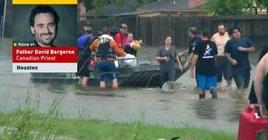 Priest Kayaking Through Houston Flood Offering Prayers, Mass