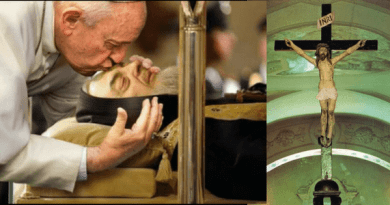 Padre Pio And The Stigmata – The Crucifix From Which Padre Pio Received The Stigmata, Is Located In The Choir Loft Of The Small Original Church…Papa Francis Visits Saint