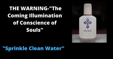 """The power Satan holds will be taken away.""… THE WARNING-The Coming Illumination of Conscience of Souls…Sprinkle Clean Water…"