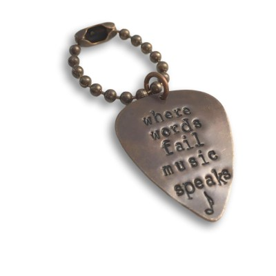 Where Words Fail Music Speaks Guitar Pick Keychain
