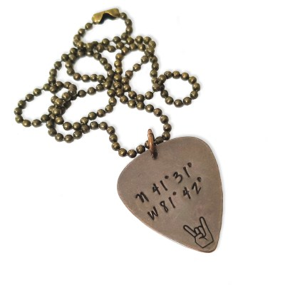 Custom Concert Coordinate Guitar Pick Necklace