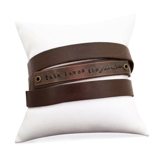 Fate Loves the Fearless Leather Wrap Bracelet