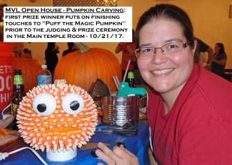 10-21-17 Puff the Magic Pumpkin -- Open House Prize Winner