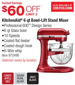 Costco Deal KitchenAid 6 Qt Bowl Lift Stand Mixer 60 OFF
