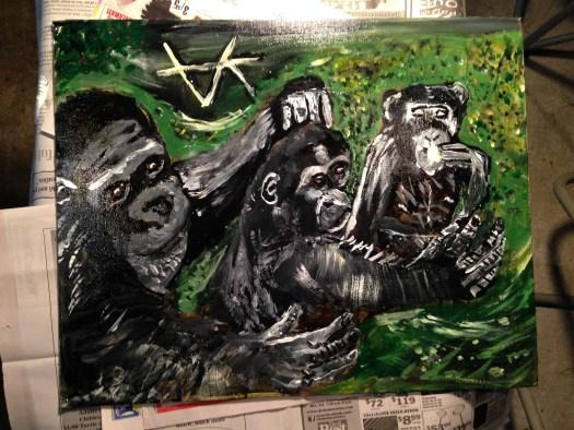 Painting of Liberian chimpanzees by Aya Katz.
