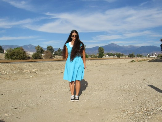 Today I wore the sky blue 1950s style dress with Mount San Gorgonio in the distance.