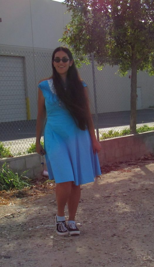I wore the blue dress with black canvas shoes.