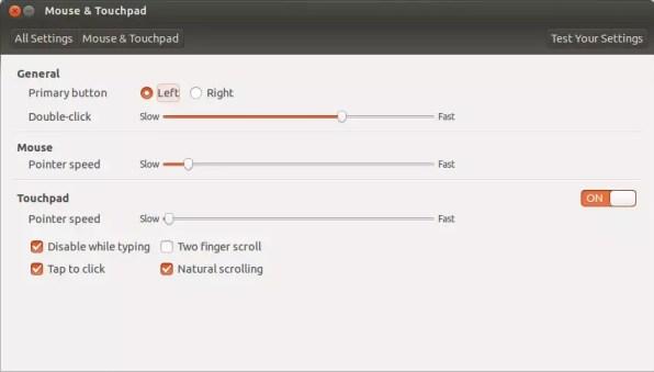 Mouse & touchpad settings - Ubuntu 13.10