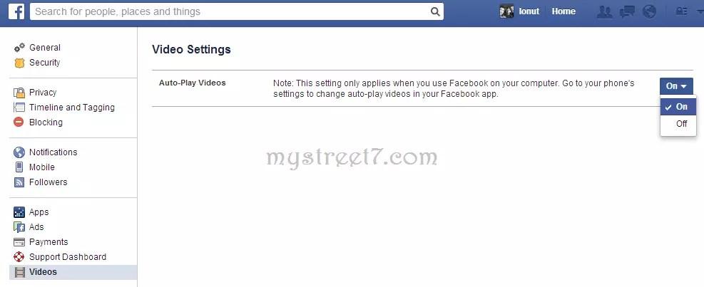 dezactivare redare video automata facebook 2