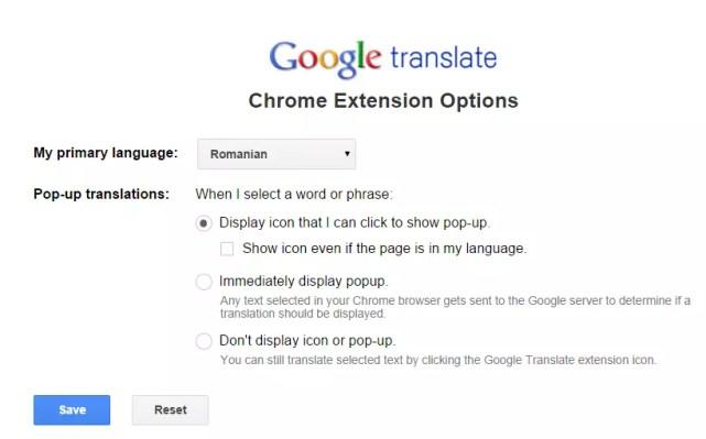 setari google translate extensie
