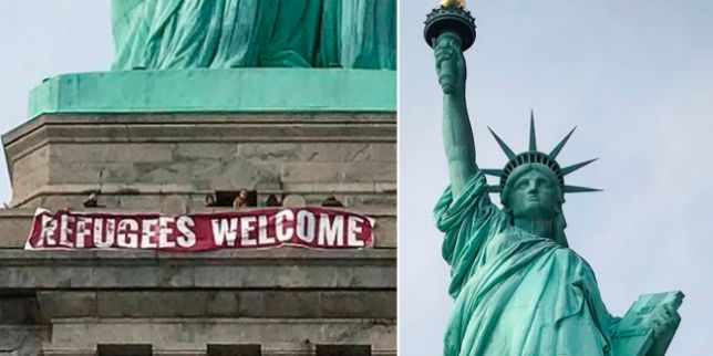 """Woman Scales Statue of Liberty After Protestors Hang """"Abolish ICE"""" Banner"""