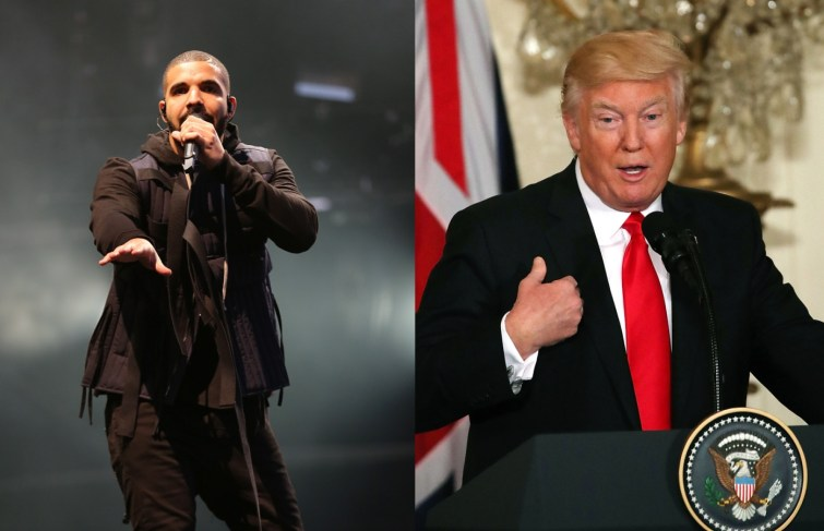 "Watch Drake Says Donald Trump a ""F—–g Idiot"" at Brooklyn Show"