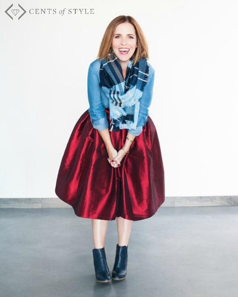 chambray shirt and holiday skirt-: holiday style