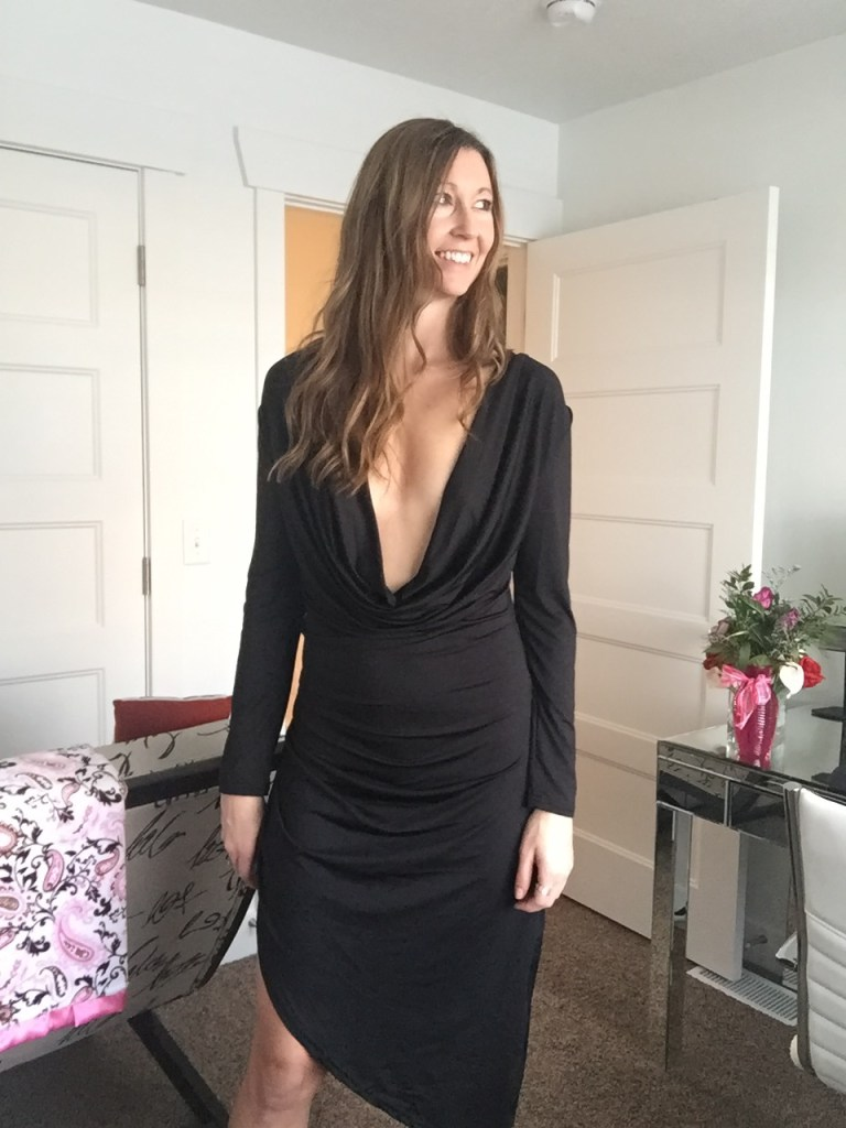 sexy plunge neckline long sleeved dress