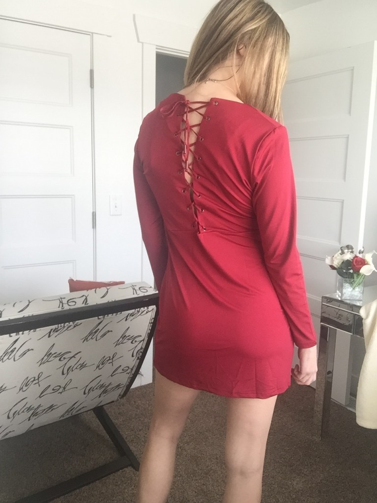 red lace back v neck dress