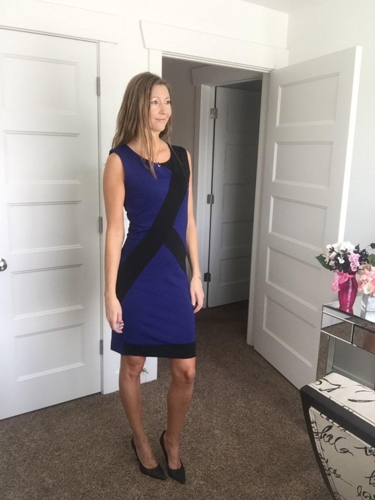 blue and black geometric sheath dress