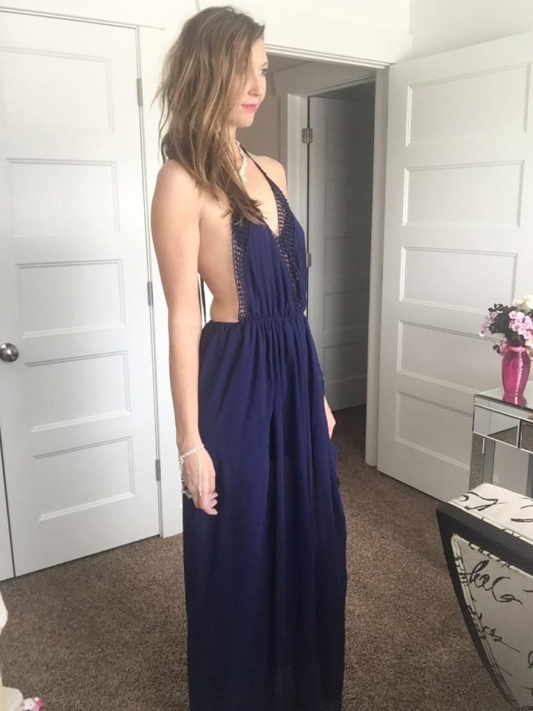 blue low cut maxi dress