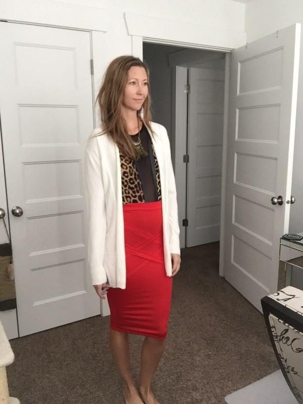 3d5832de96 ... white cardigan, leopard print bodysuit and red pencil skirt · «