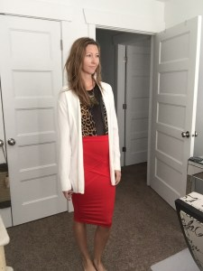 white cardigan, leopard print bodysuit and red pencil skirt
