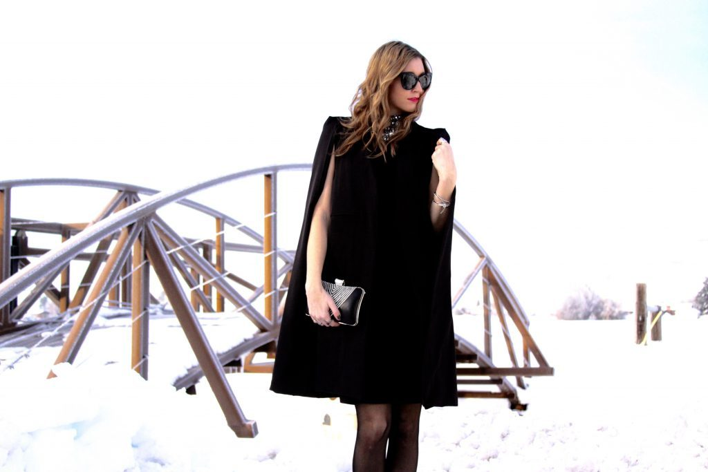 Black Cape, Black Dress with Beaded Detail, & beaded clutch