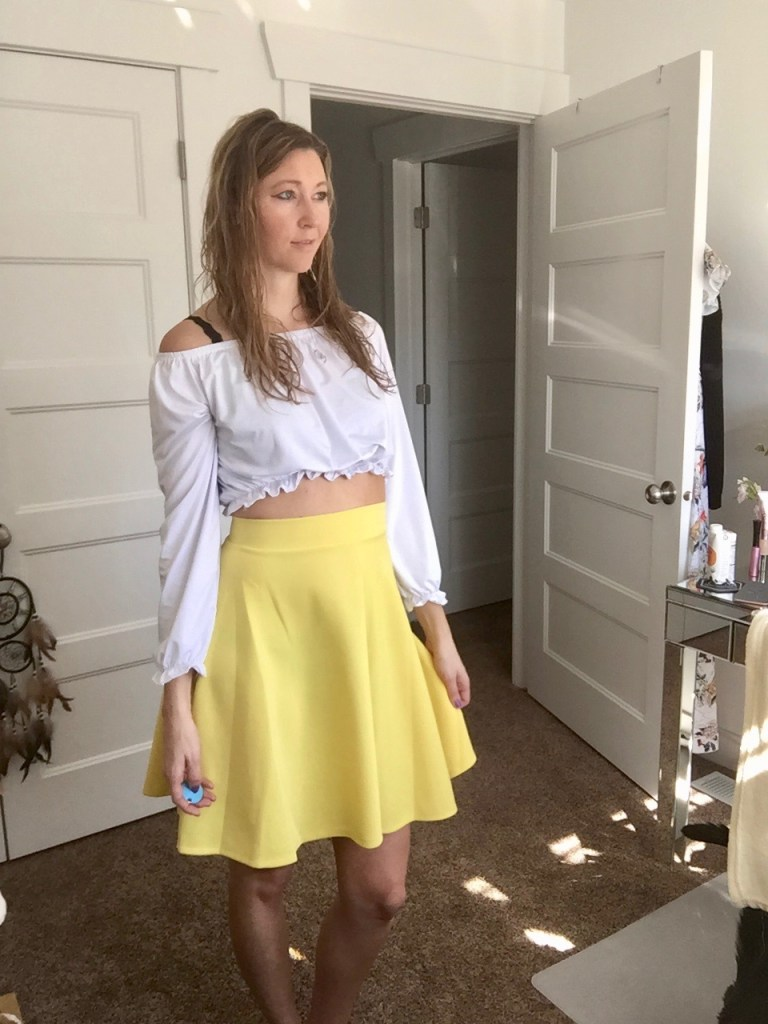 Yellow Circle Skirt and white off the shoulder crop top