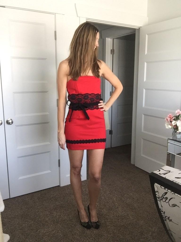 Red and Black Lace Waist Mini Tube Dress