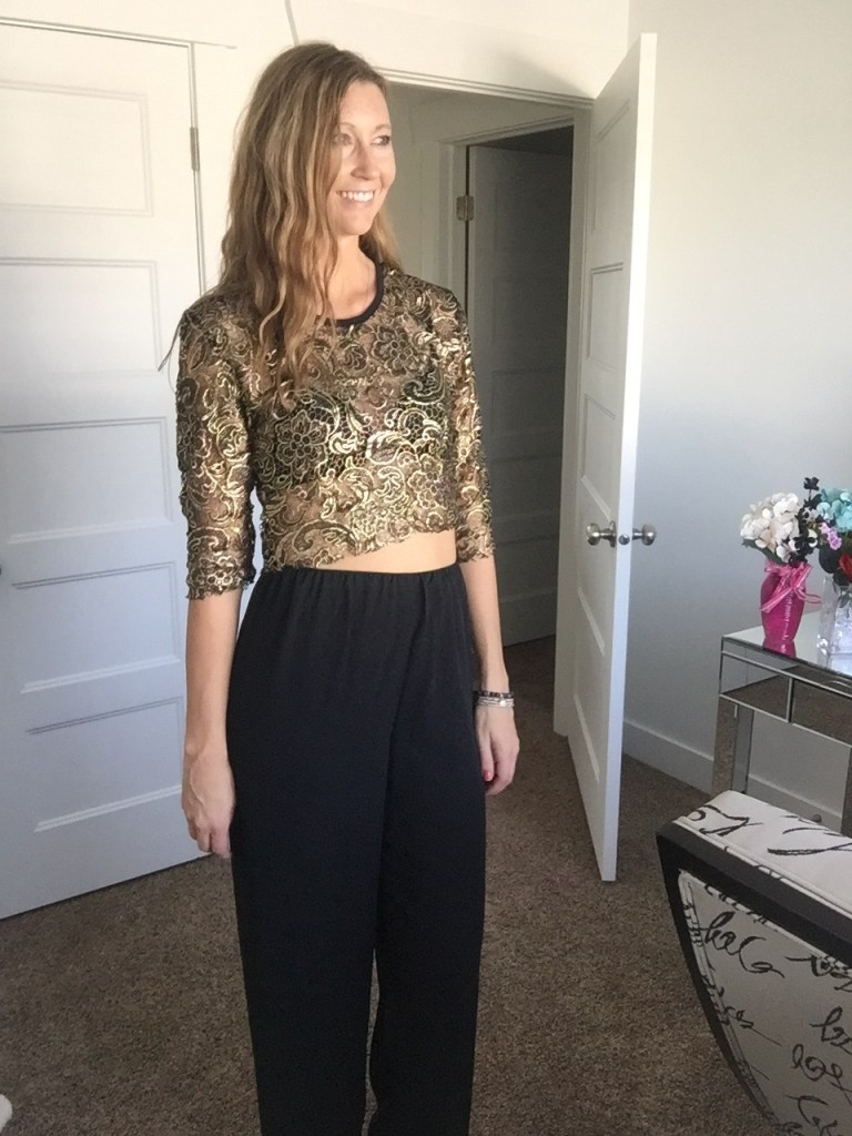 Black Trousers and Gold Applique 3/4 Sleeve Crop Top
