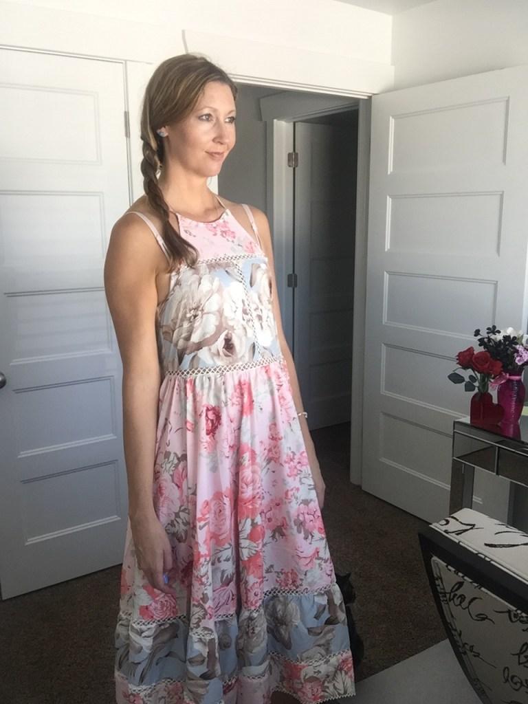 Halter Strap Midi Floral Dress