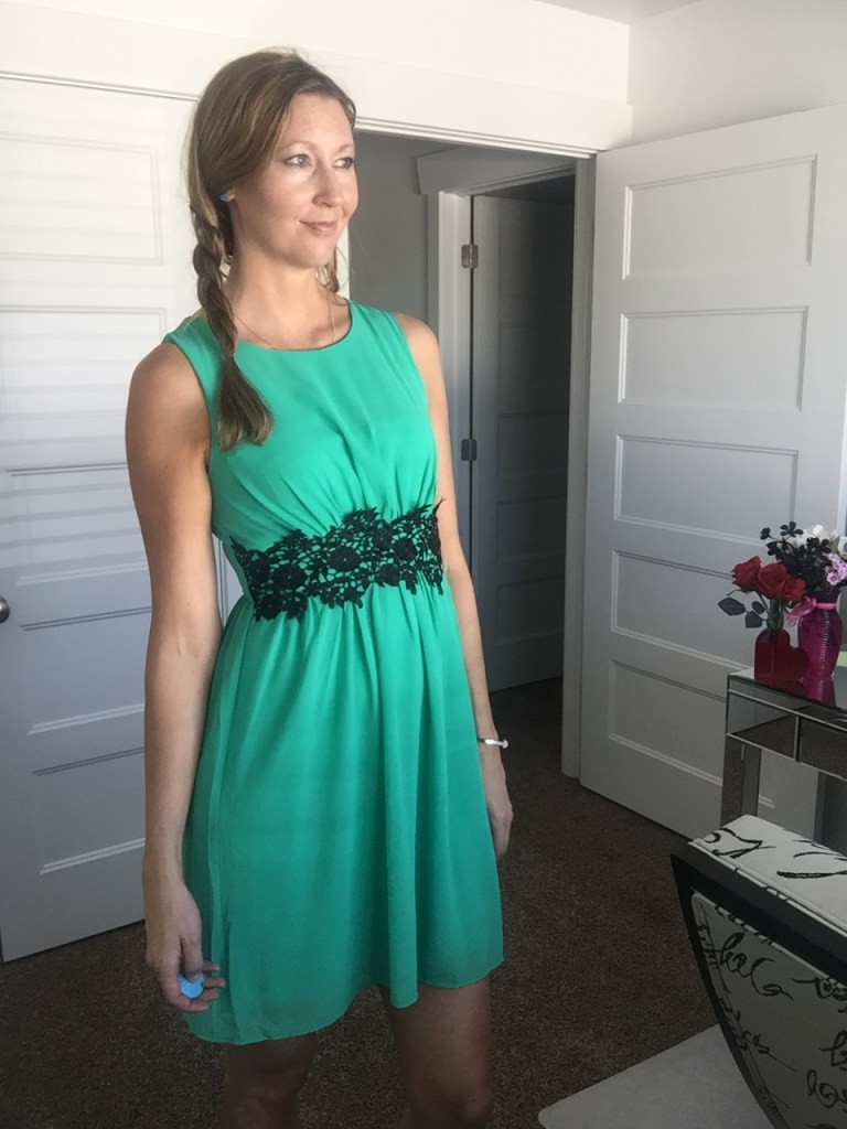 Green tank Dress with Black Lace Waist