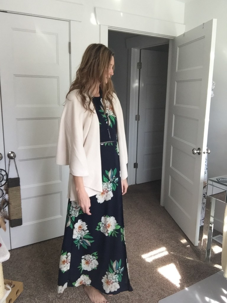 Beige Cardigan Sweater and Floral Maxi Dress
