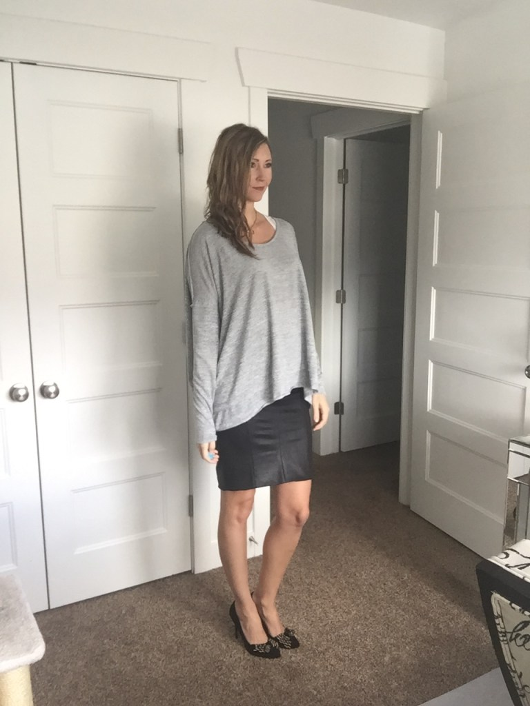 Loose Gray Sweater and Black Faux Leather Pencil Skirt
